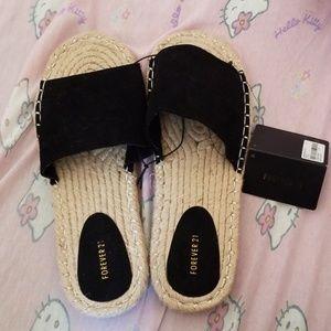 NWT F21 Black Open-Toe Espadrille Sandals